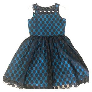 Polka dot black lace dress - teal contrast lining
